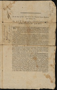 Calls for Soldiers by the State of MA, 1776-1780