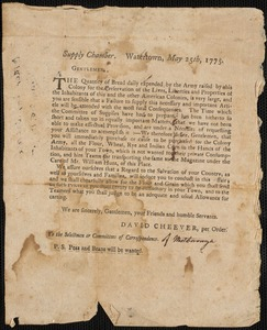 Calls for Supplies by the State of MA, 1775-1780