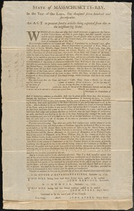 Act to Prevent the Export of Certain Articles from the State, 1779