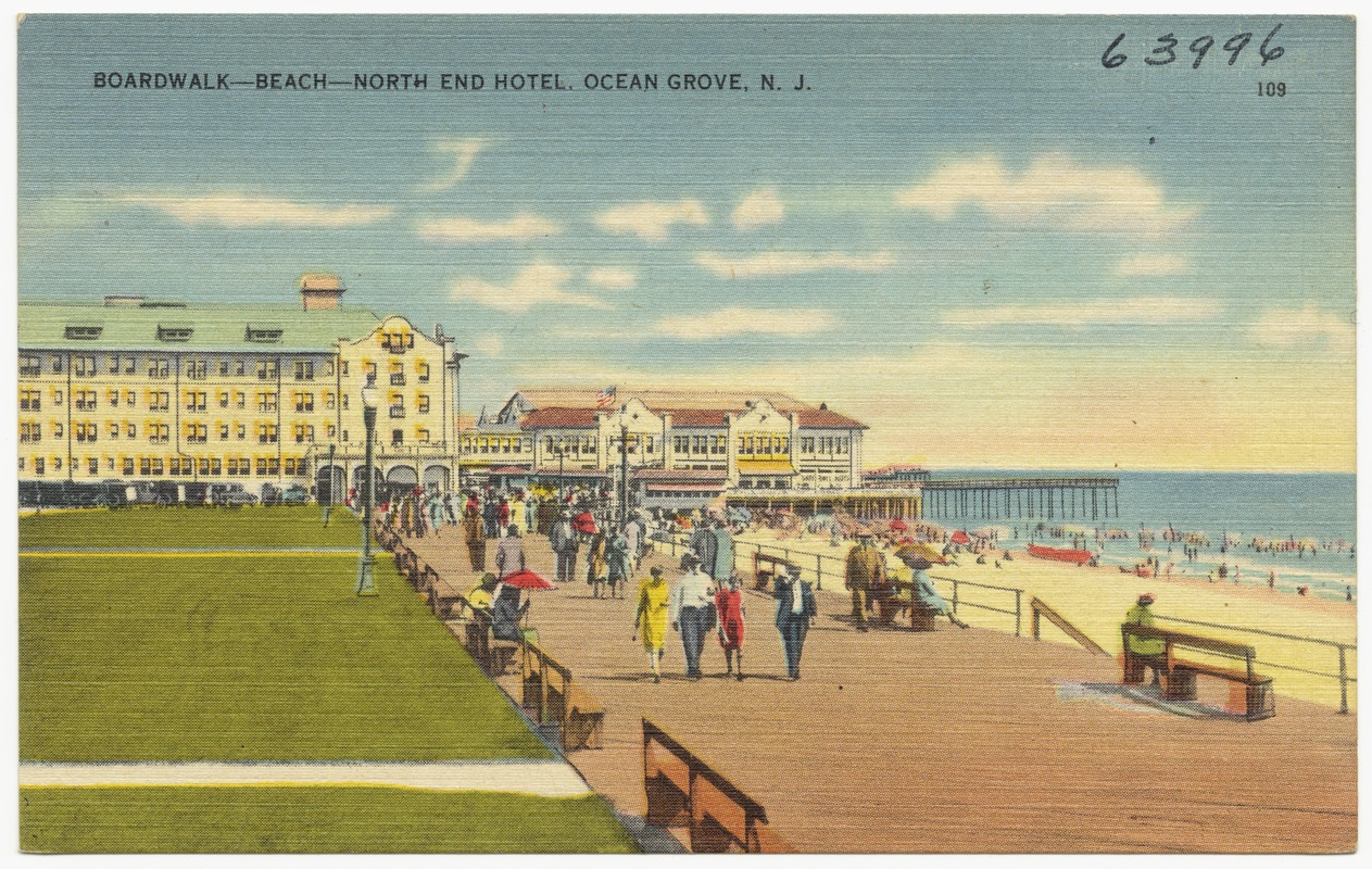 Boardwalk -- beach -- north end hotel. Ocean Grove, N. J.
