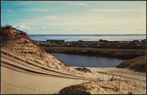Sand dunes along Outer Cape Cod with Cape Cod Bay in the background