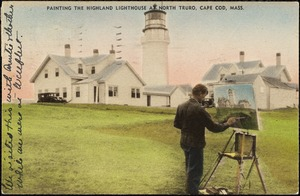 Painting the Highland Lighthouse at North Truro, Cape Cod, Mass.