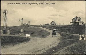 Road to golf links & lighthouse, North Truro, Mass.