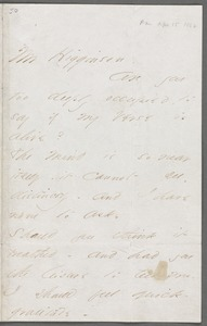 Emily Dickinson, Amherst, Mass., autograph letter to Thomas Wentworth Higginson, 15 April 1862