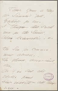 Emily Dickinson, Amherst, Mass., autograph manuscript poem: There came a day at summer's full, 1862