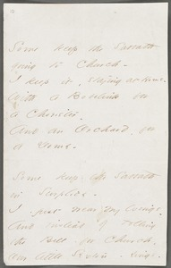 Emily Dickinson, Amherst, Mass., autograph manuscript poem: Some keep the Sabbath going to church, 1862