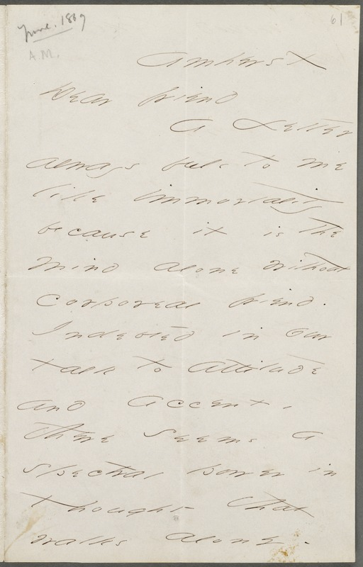Emily Dickinson, Amherst, Mass., autograph letter signed to Thomas Wentworth Higginson, June 1869