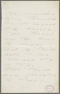 Emily Dickinson, Amherst, Mass., autograph manuscript poem: He preached upon Breadth, 1872