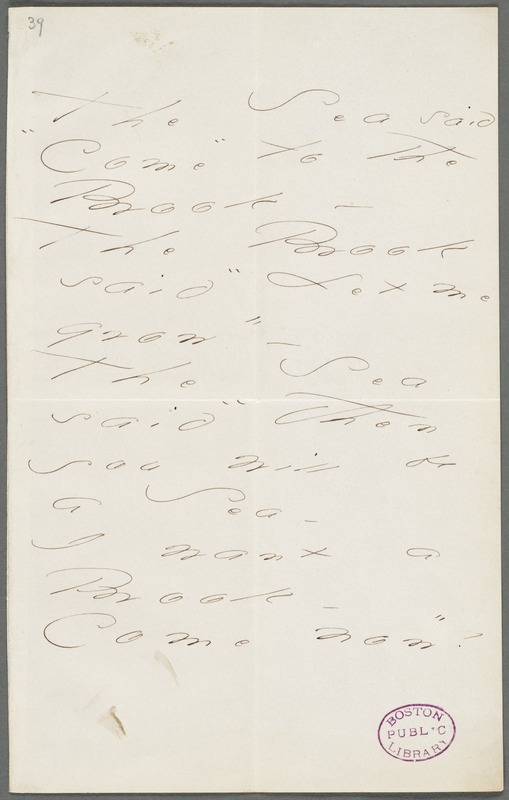 "Emily Dickinson, Amherst, Mass., autograph manuscript poem: The Sea said ""Come"" to the Brook, 1872"