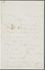 Emily Dickinson, Amherst, Mass., autograph manuscript poem: The Heart is the Capital of the Mind, 1876
