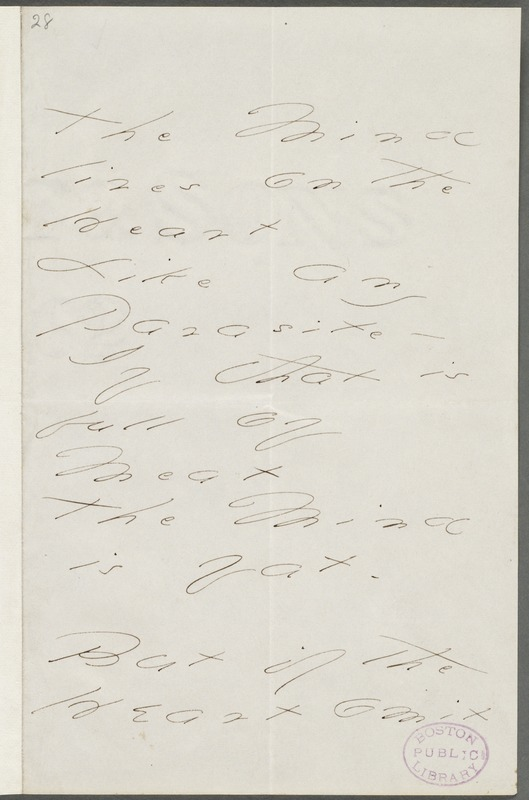 Emily Dickinson, Amherst, Mass., autograph manuscript poem: The Mind lives on the Heart, 1876