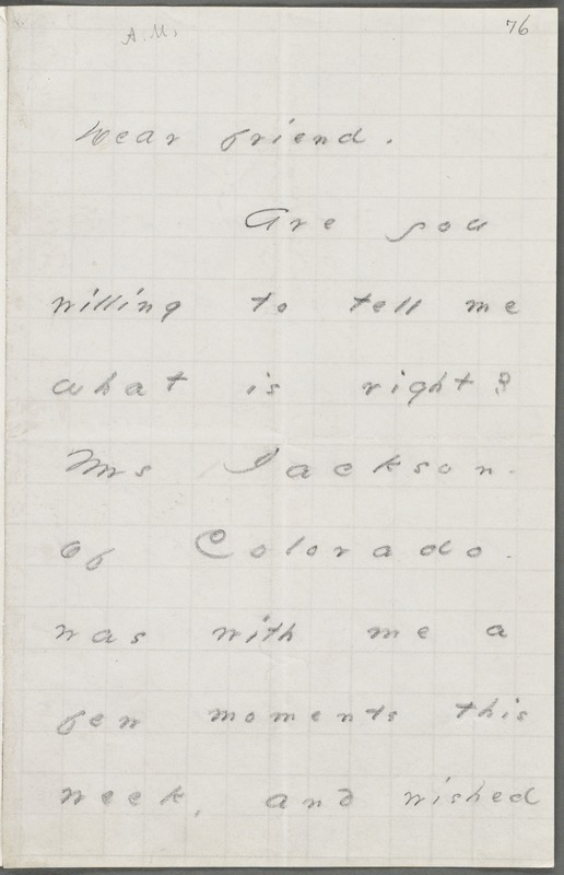 Emily Dickinson, Amherst, Mass., autograph letter to Thomas Wentworth Higginson, October 1876