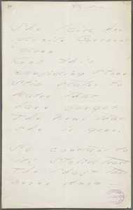 Emily Dickinson, Amherst, Mass., autograph manuscript poem: She laid her docile Crescent down, 1877