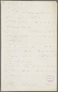 Emily Dickinson, Amherst, Mass., autograph manuscript poem: It sounded as if the streets were running, 1877