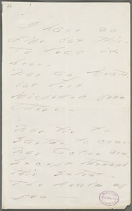 Emily Dickinson, Amherst, Mass., autograph manuscript poem: I have no life but this, 1877