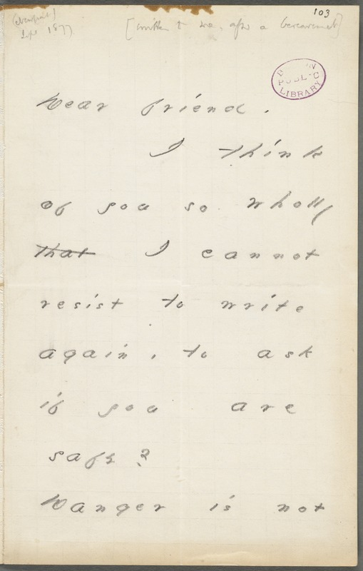 Your Scholar (Emily Dickinson), Amherst, Mass., autograph note signed to Thomas Wentworth Higginson, early Autumn 1877