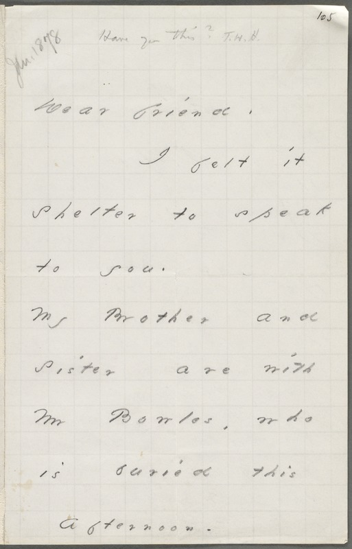 Emily Dickinson, Amherst, Mass., autograph note to Thomas Wentworth Higginson, 19 January 1878