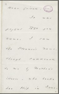 Your Scholar (Emily Dickinson), Amherst, Mass., autograph letter signed to Thomas Wentworth Higginson, November 1878