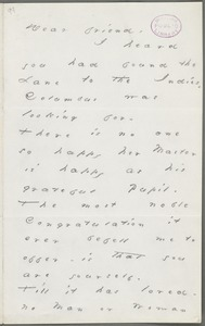 Emily Dickinson, Amherst, Mass., autograph letter to Thomas Wentworth Higginson, December 1878