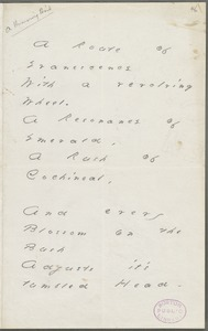Emily Dickinson, Amherst, Mass., autograph manuscript poem: A route of evanescence, 1880