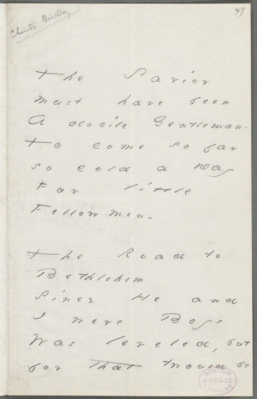 Emily Dickinson, Amherst, Mass., autograph manuscript poem: The Savior must have been, 1880