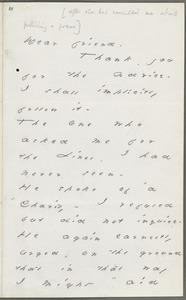 Your Scholar (Emily Dickinson), Amherst, Mass., autograph letter signed to Thomas Wentworth Higginson, November 1880