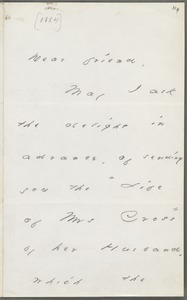 Emily Dickinson, Amherst, Mass., autograph note to Thomas Wentworth Higginson, late April 1883