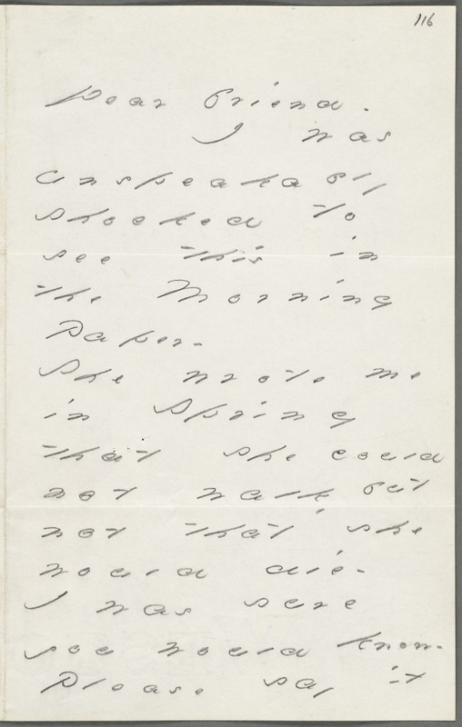 Your Scholar (Emily Dickinson), Amherst, Mass., autograph letter signed to Thomas Wentworth Higginson, 6 August 1885