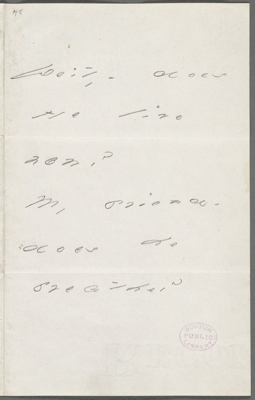 Emily Dickinson, Amherst, Mass., autograph note to Thomas Wentworth Higginson, May 1886
