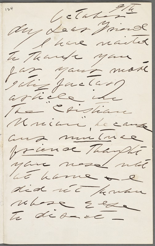 Lavinia Norcross Dickinson, Amherst, Mass., autograph letter signed to Thomas Wentworth Higginson, 9 October 1890