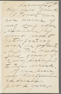 Lavinia Norcross Dickinson, Amherst, Mass., autograph letter signed to Thomas Wentworth Higginson, 23 December 1890