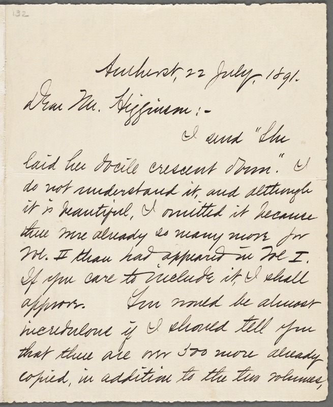 Mabel Loomis Todd, Amherst, Mass., autograph letter signed to Thomas Wentworth Higginson, 22 July 1891
