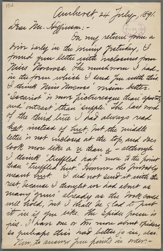 Mabel Loomis Todd, Amherst, Mass., autograph letter signed to Thomas Wentworth Higginson, 24 July 1891