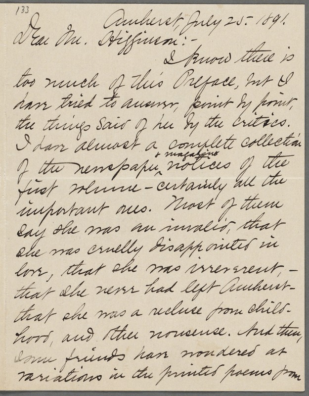 Mabel Loomis Todd, Amherst, Mass., autograph letter signed (initials) to Thomas Wentworth Higginson, 25 July 1891