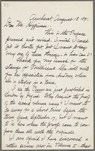 Mabel Loomis Todd, Amherst, Mass., autograph letter signed (initials) to Thomas Wentworth Higginson, 13 August 1891