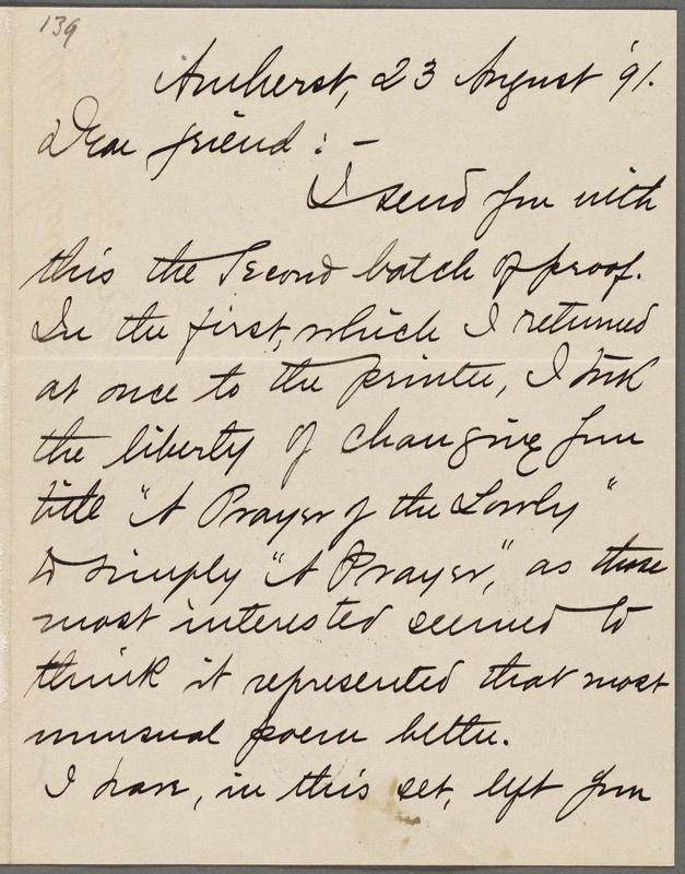 Mabel Loomis Todd, Amherst, Mass., autograph letter signed to Thomas Wentworth Higginson, 23 August 1891