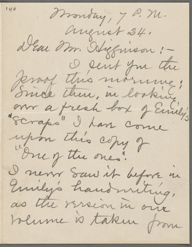 Mabel Loomis Todd, Amherst, Mass., autograph letter signed (initials) to Thomas Wentworth Higginson, 24 August 1891