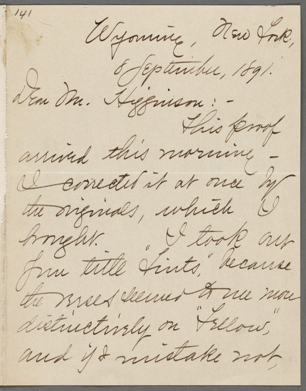 Mabel Loomis Todd, Wyoming, N.Y., autograph letter signed (initials) to Thomas Wentworth Higginson, 8 September 1891