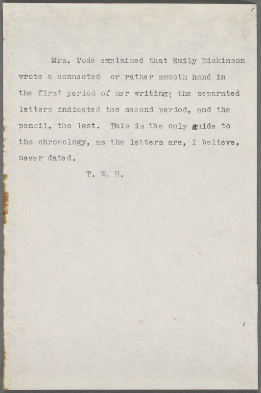 Thomas Wentworth Higginson typed note, 19??