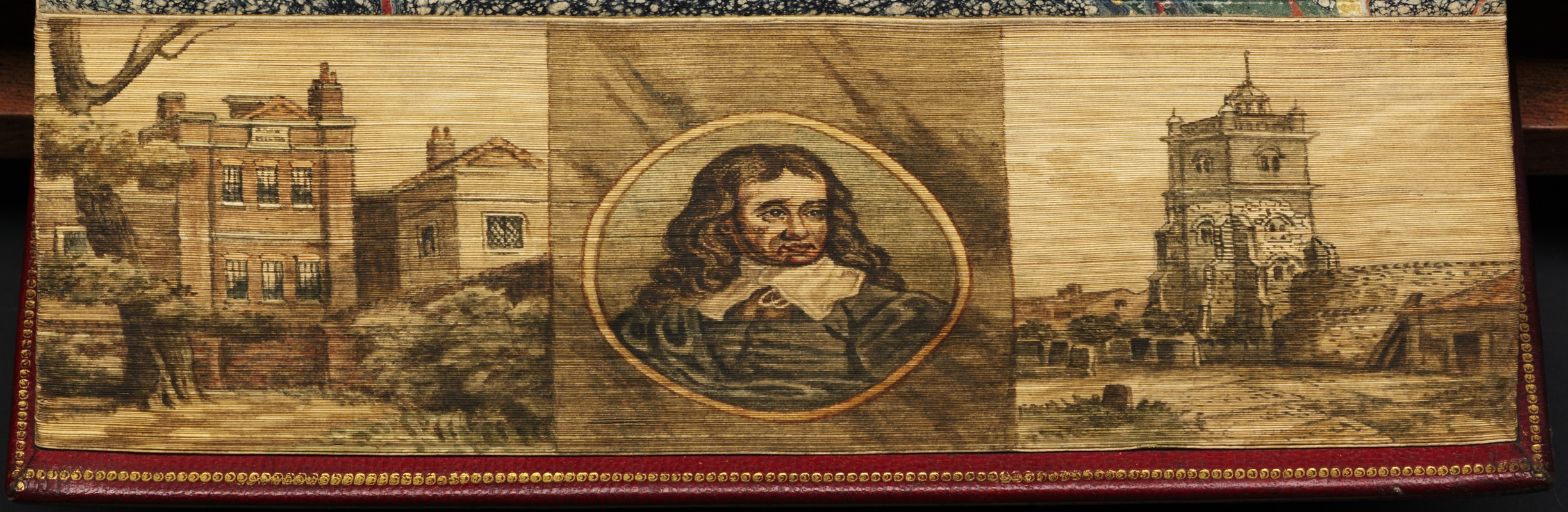 Milton's house, York Street, Tothill fields ; Portrait of Milton ; His burial place at St. Giles, Cripplegate