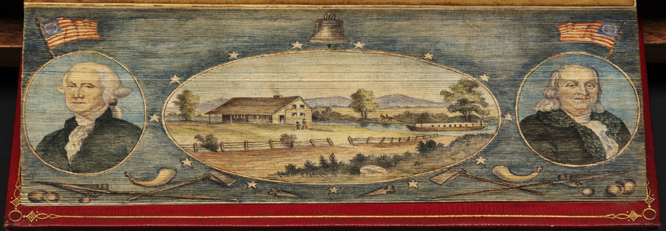 Portraits of George Washington and Benjamin Franklin alongside view of a house