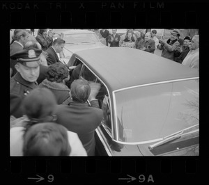 Crowd outside Don Orione Home in East Boston during visit by Italian Prime Minister Emilio Colombo