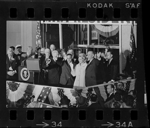 Francis Bellotti, Kathryn White, and Lyndon Johnson at campaign rally in Post Office Square