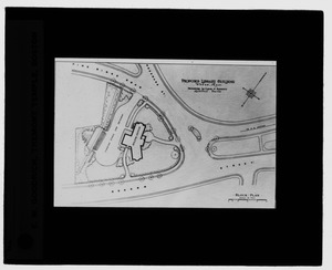 Waban historical collection, lantern slides - Proposed Library Building: Block and Plan - -