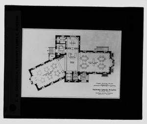 Waban historical collection, lantern slides - Proposed Library Building: First Floor Plan - -