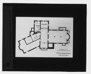 Waban historical collection, lantern slides - Proposed Library Building: Basement Plan - -