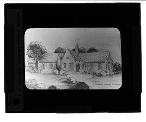 Waban historical collection, lantern slides - Proposed Library Building: Exterior -