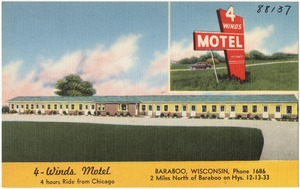 4 - Winds Motel, Baraboo, Wisconsin, 2 miles north of Baraboo on hys. 12 - 13 - 33