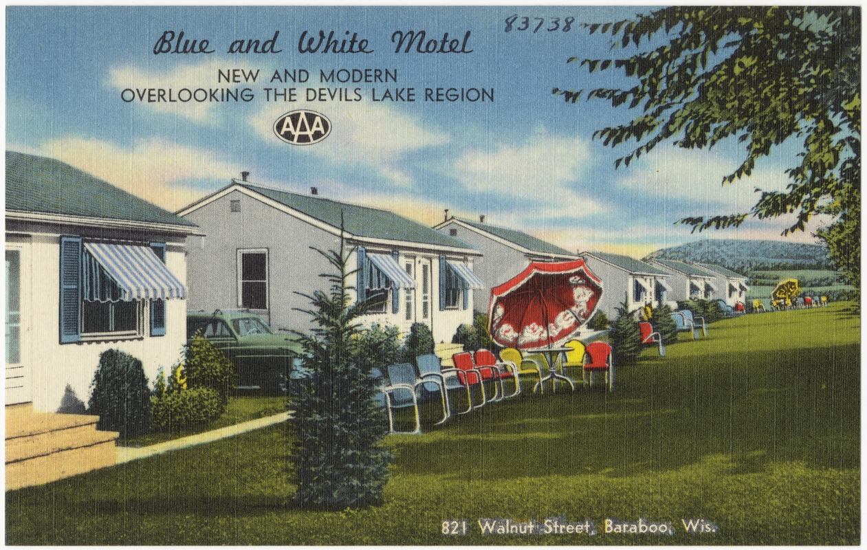 Blue And White Motel New Modern Overlooking The Devils Lake Region 821 Walnut Street Baraboo Wis