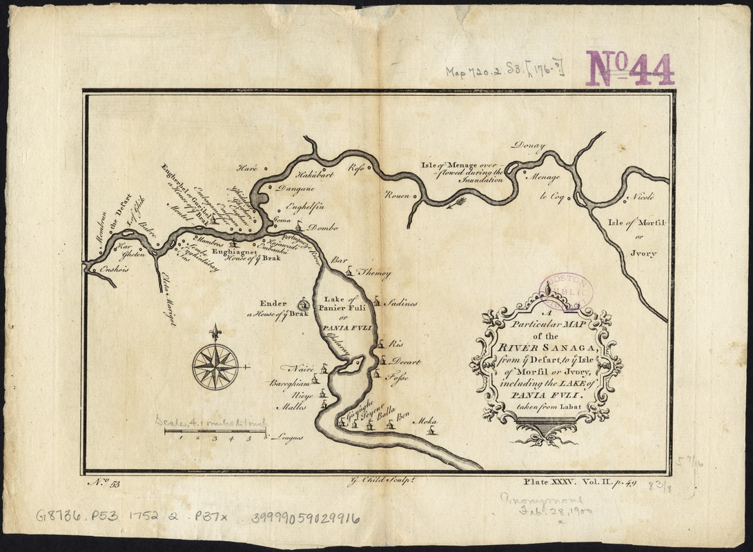 A particular map of the River Sanaga, from ye desart, to ye Isle of Morfil or Jvory, including the Lake of Pania Fuli